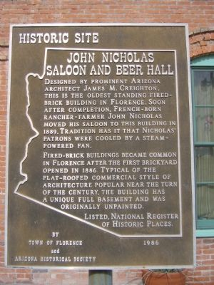 John Nicholas Saloon and Beer Hall Marker image. Click for full size.