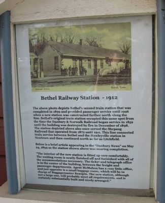 Bethel Railway Station – 1912 Marker image. Click for full size.