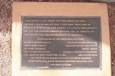 Father Albert Braun O.F.M. Marker - Phillipines Memorial Stone Plaque image. Click for full size.
