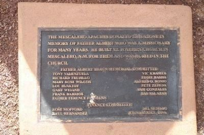 Father Albert Braun O.F.M. Marker - Mescalero Apache Memorial Stone Plaque image. Click for full size.