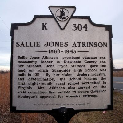 Sallie Jones Atkinson Marker image. Click for full size.