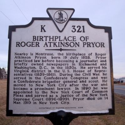 Birthplace of Roger Atkinson Pryor Marker image. Click for full size.