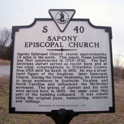 Sapony Episcopal Church Marker image. Click for full size.