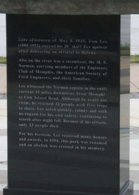 Tom Lee Monument Marker Text image. Click for full size.