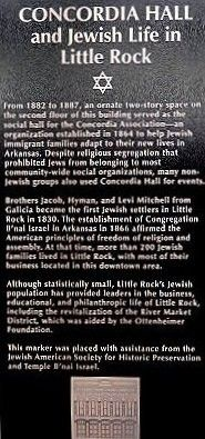 Concordia Hall and Jewish Life in Little Rock Marker image. Click for full size.