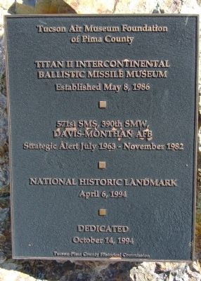 Titan II Intercontinental Ballistic Missile Museum Marker image. Click for full size.