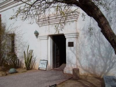 Mission San Xavier del Bac Marker and Entrance to Living Quarters image. Click for full size.