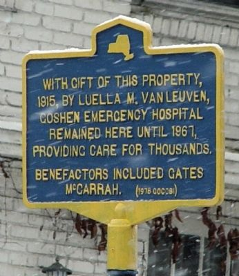 Goshen Emergency Hospital Marker image. Click for full size.
