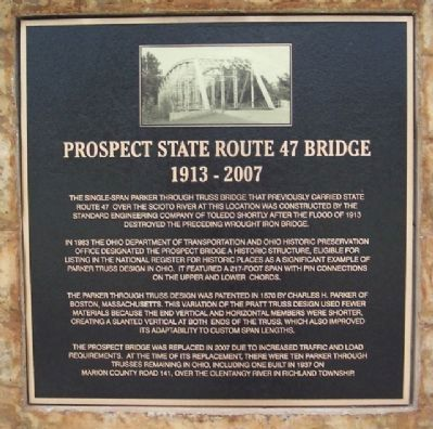 Prospect State Route 47 Bridge Marker image. Click for full size.