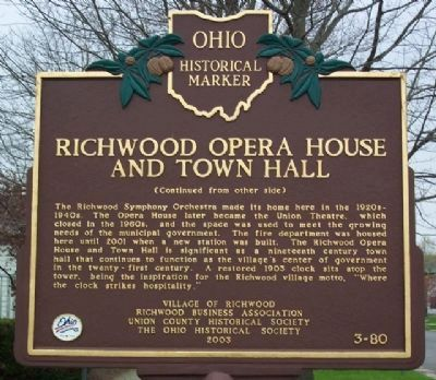 Richwood Opera House and Town Hall Marker (Side B) image. Click for full size.