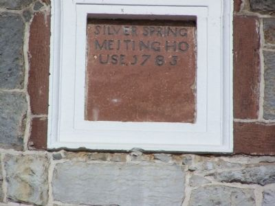 Silver Spring Presbyterian Church Stone at top of building. image. Click for full size.