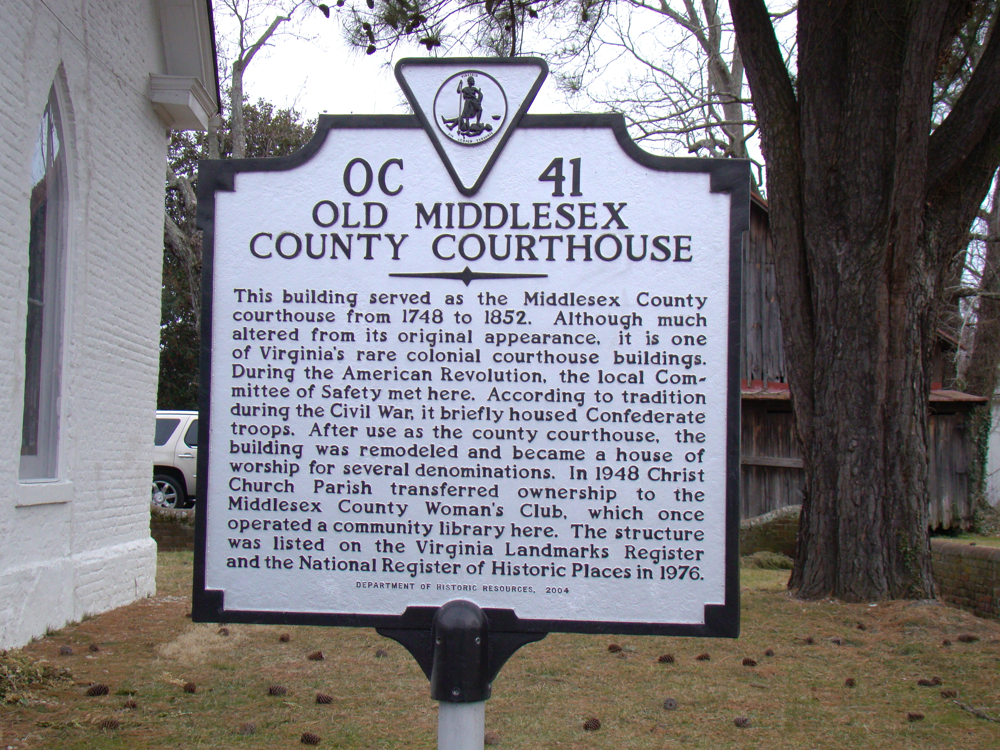 Old Middlesex County Courthouse Marker
