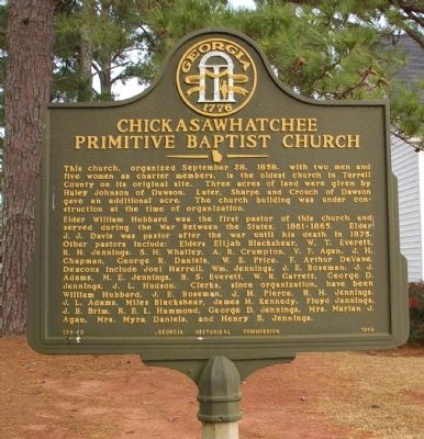 Chickasawhatchee Primitive Baptist Church Marker image. Click for full size.