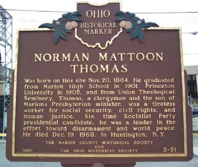 Norman Mattoon Thomas Marker image. Click for full size.