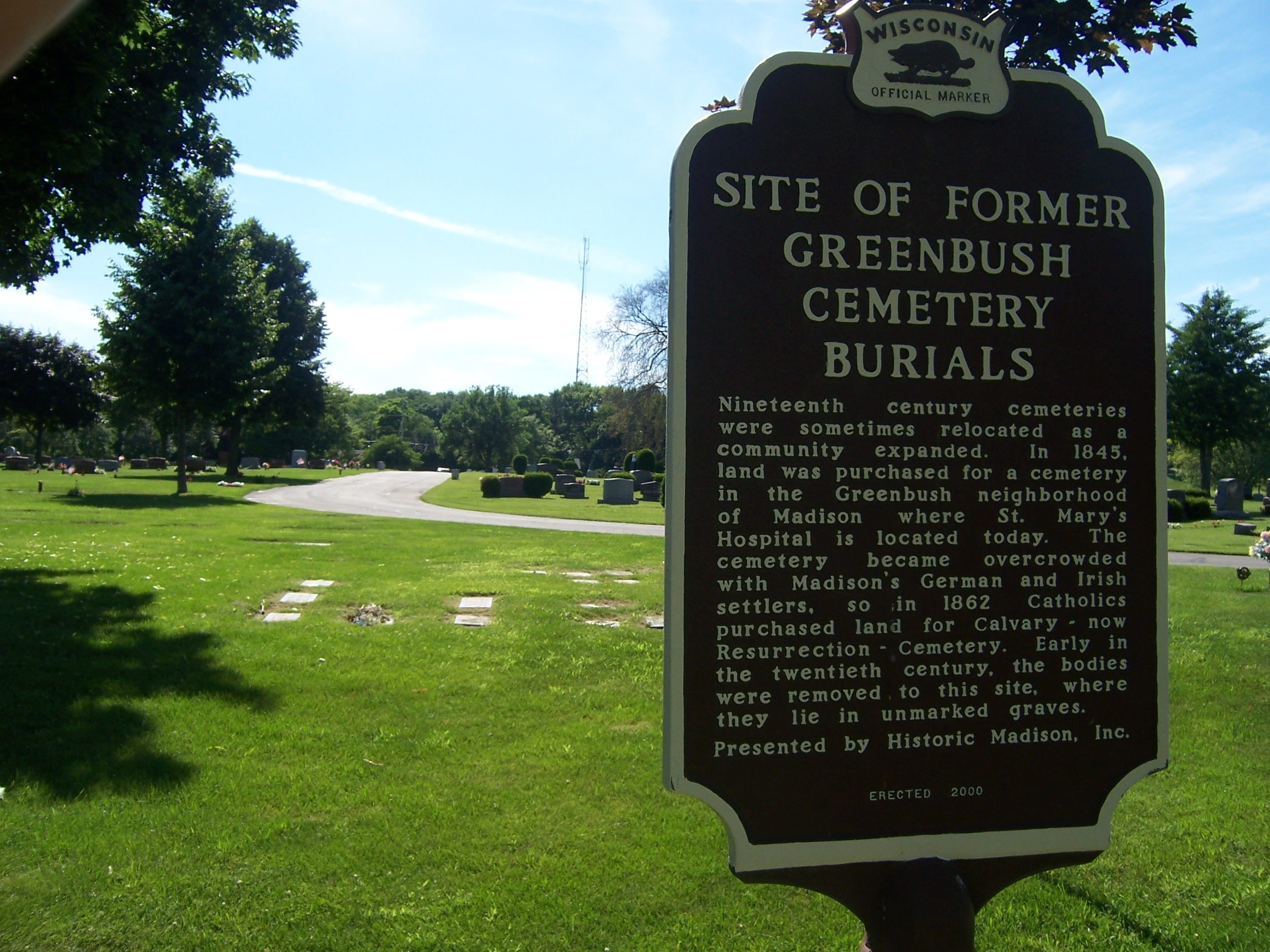 Site of Former Greenbush Cemetery Burials Marker