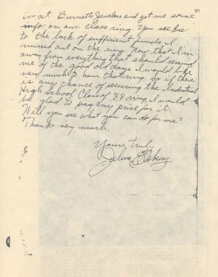 Julius Ellsberry Letter (page2) image. Click for full size.
