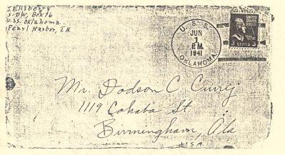 Julius Ellsberry Envelope from U.S.S Oklahoma image. Click for full size.