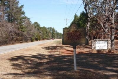 Shiloh Methodist Church Marker, looking west along Cobbham Road (State Road 150) image. Click for full size.