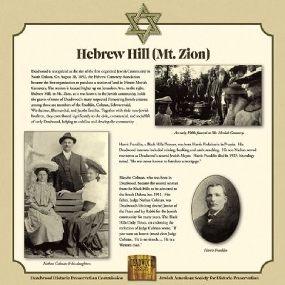 Hebrew Hill (Mt. Zion) Marker image. Click for full size.