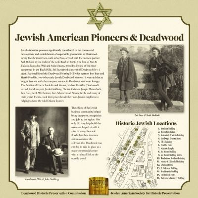 Jewish American Pioneers and Deadwood Marker image. Click for full size.