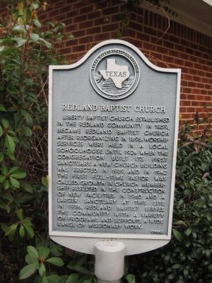 Redland Baptist Church Marker image. Click for full size.