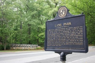 Lane Park Marker Across From The Birmingham Zoo Entrance image. Click for full size.