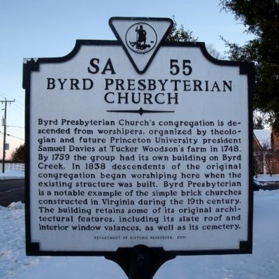 Byrd Presbyterian Church Marker image. Click for full size.
