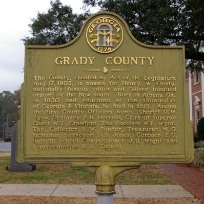 Grady County Marker image. Click for full size.