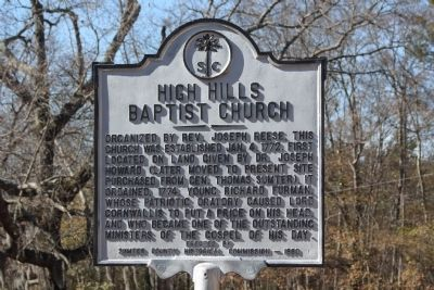 High Hills Baptist Church Marker image. Click for full size.