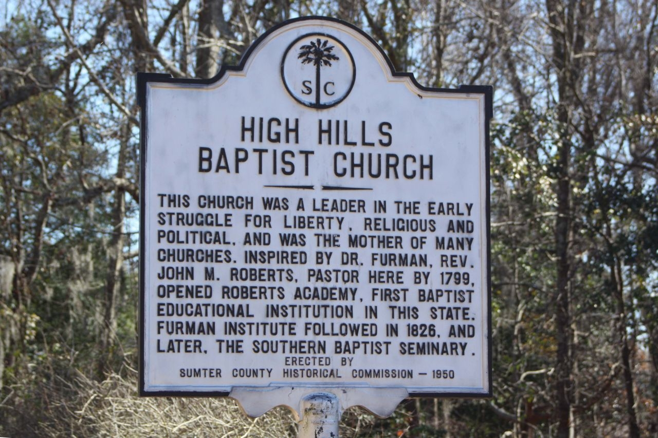 High Hills Baptist Church Marker reverse side