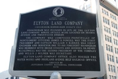 Side B: Morris Avenue Historic District / Elyton Land Company Marker image. Click for full size.