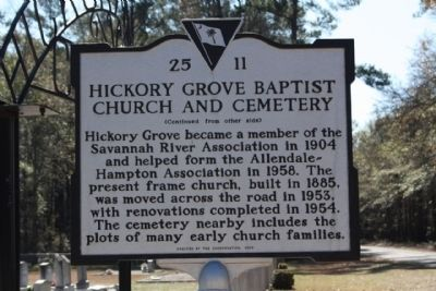 Hickory Grove Baptist Church and Cemetery Marker, reverse side image. Click for full size.