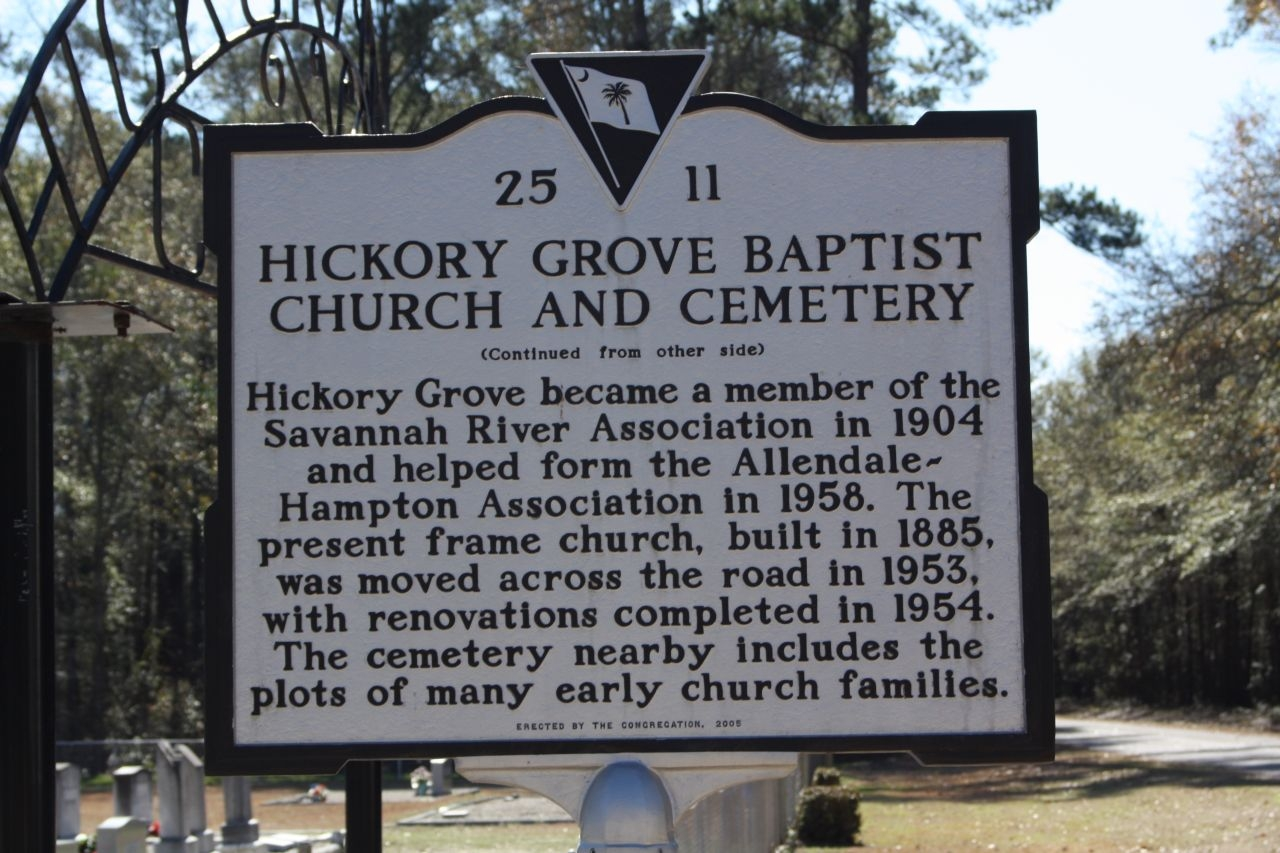 Hickory Grove Baptist Church and Cemetery Marker, reverse side