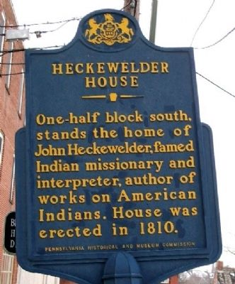Heckewelder House Marker image. Click for full size.