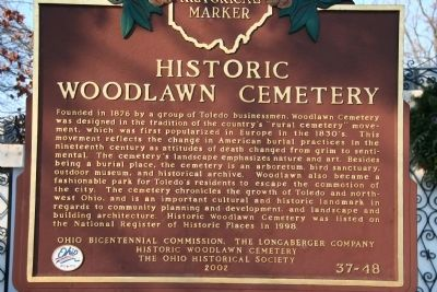 Historic Woodlawn Cemetery Marker image. Click for full size.
