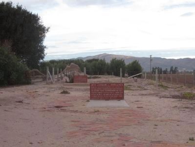 Former church floor, with graves of Arillaga and Ibanez image. Click for full size.