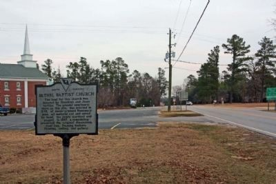 Bethel Baptist Church Marker along Bethel Church Road; Starks Ferry Road in far background image. Click for full size.