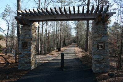 Former railroad bed converted into a walking trail at Ross Bridge. image. Click for full size.
