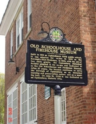 Old Schoolhouse and Firehouse Museum Marker image. Click for full size.
