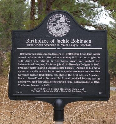 Birthplace of Jackie Robinson Marker image. Click for full size.