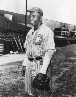 Jackie Robinson, in Kansas City Monarchs Uniform. image, Touch for more information
