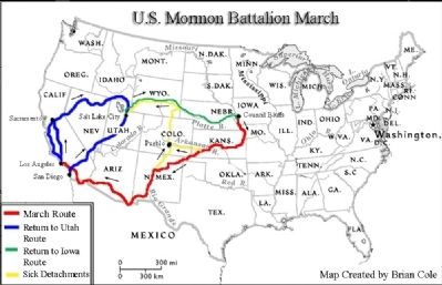 Mormon Battalion Route Map image. Click for full size.