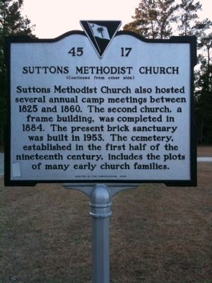 Suttons Methodist Church Marker (reverse) image. Click for full size.