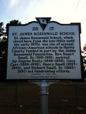 St. James Rosenwald School Marker (front) image. Click for full size.