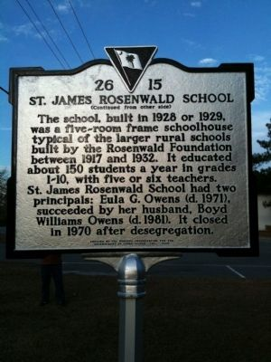 St. James Rosenwald School Marker (reverse) image. Click for full size.