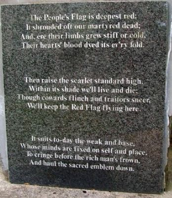 """The Red Flag"" on Jim Connell Monument image. Click for full size."
