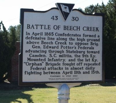 Battle of Beech Creek front side image. Click for full size.