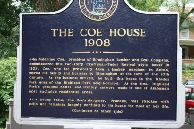 The Coe House Marker: Side A image. Click for full size.