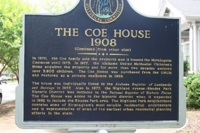 The Coe House Marker: Side B image. Click for full size.
