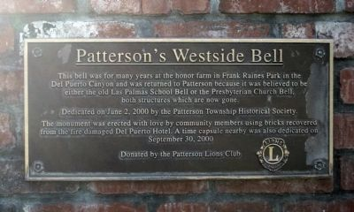 Patterson's Westside Bell Marker image. Click for full size.